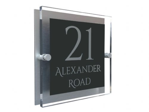 Block Shape - Clear Acrylic House Sign - Anthracite Colour with Silver text in Font  1